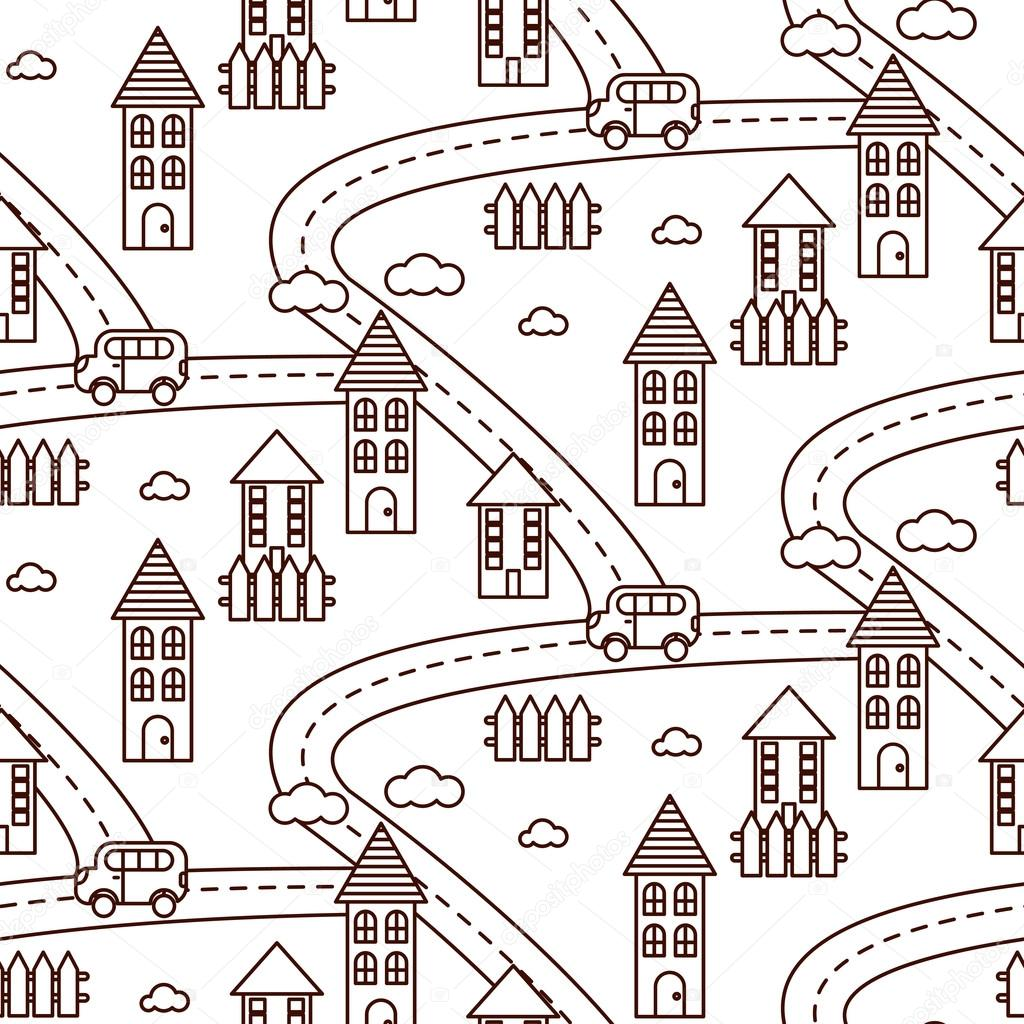 Esquema aldea de patrones sin fisuras — Archivo Imágenes Vectoriales ...