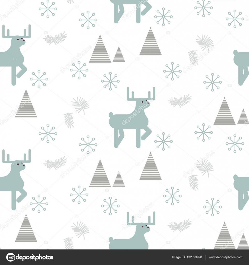 Renos en un patrón sin costuras bosque nevado — Vector de stock ...