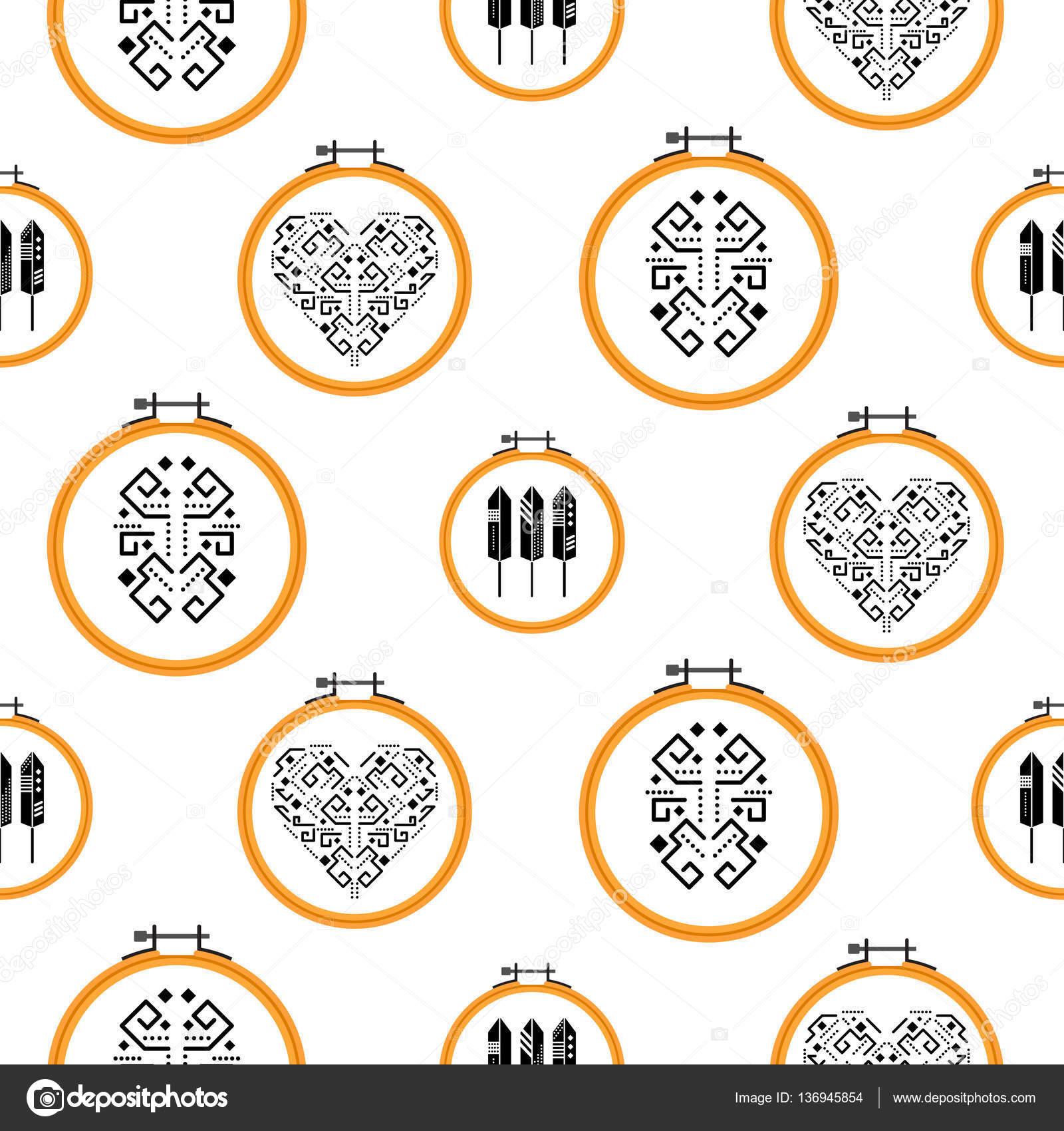 Diseño de costura en el patrón de aros de bordado — Vector de stock ...