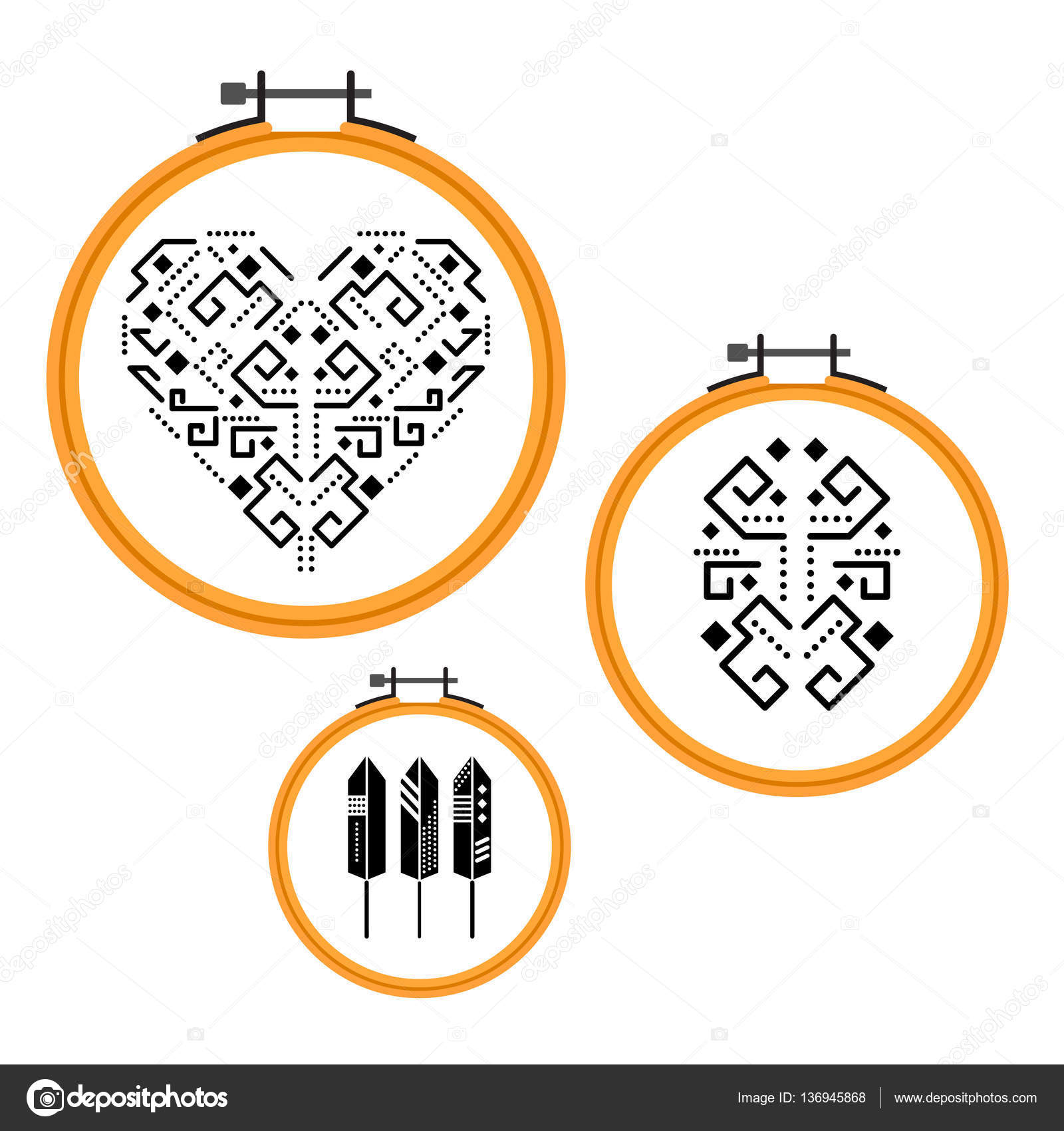 Needlework design on embroidery hoops. — Stock Vector © inides ...