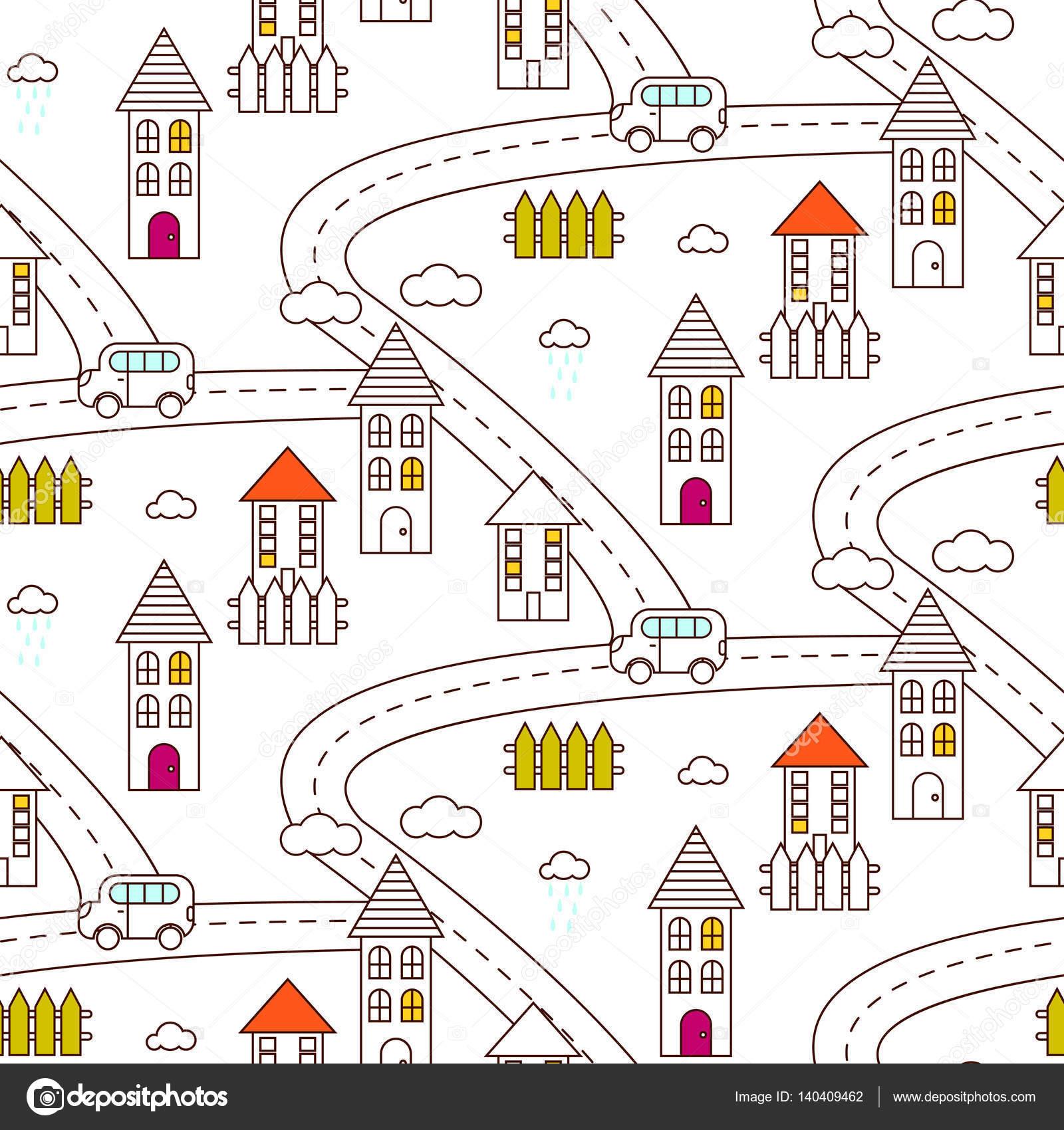 Umriss Dorf nahtlose Muster — Stockvektor © inides #140409462