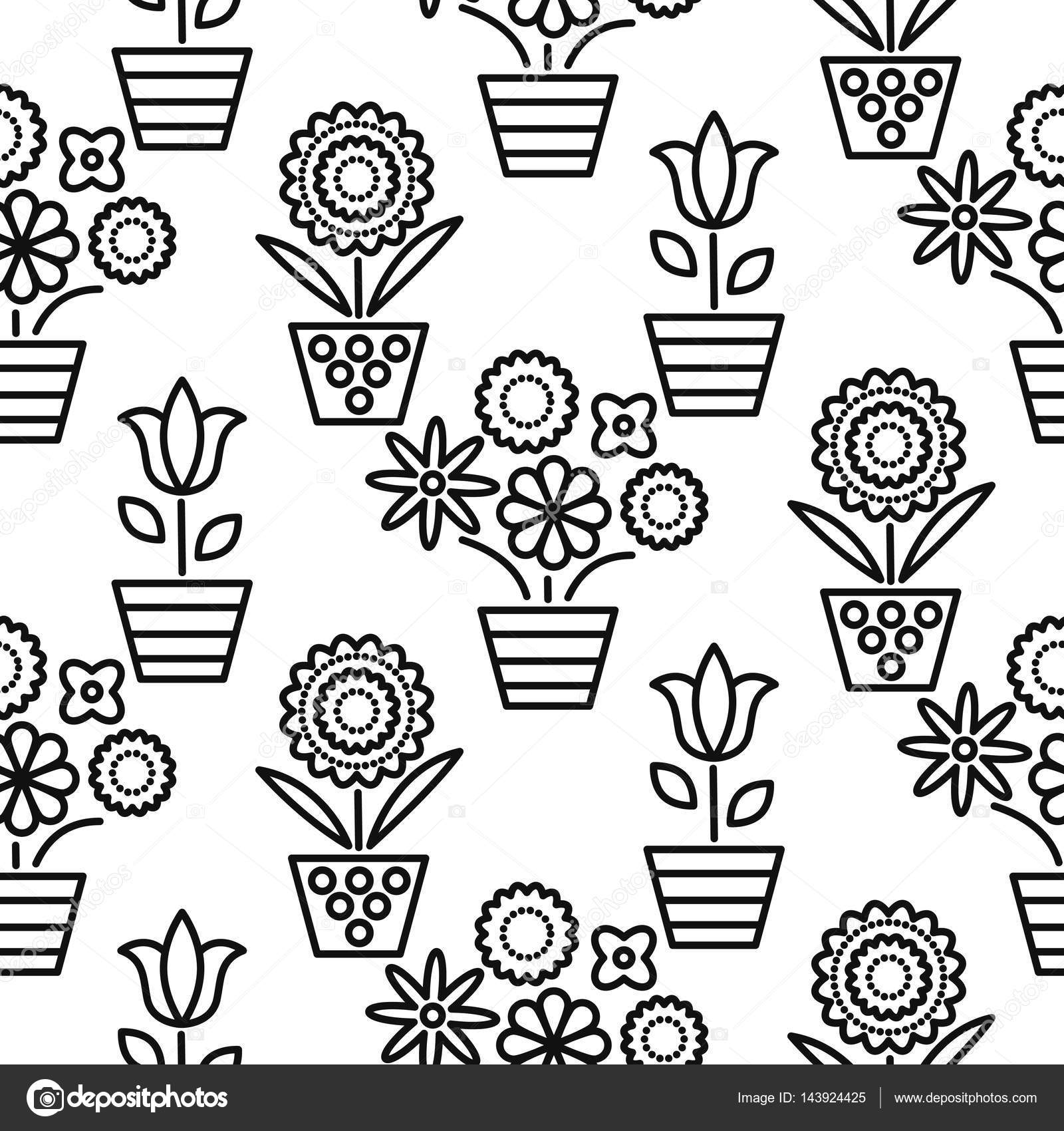 Black And White Line Flower Pots Seamless Vector Stock Vector