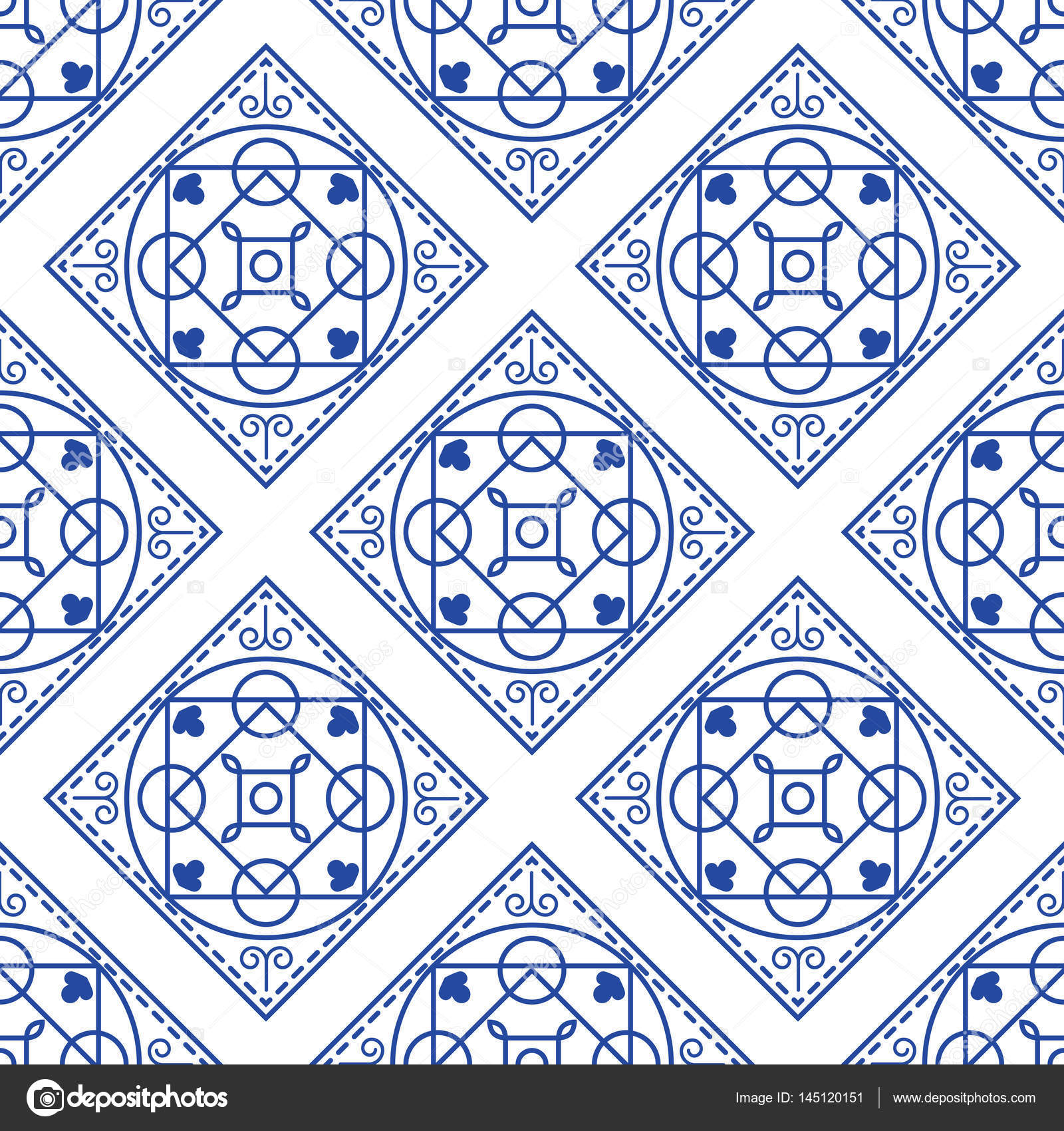 Portuguese blue and white mediterranean seamless tile pattern ...