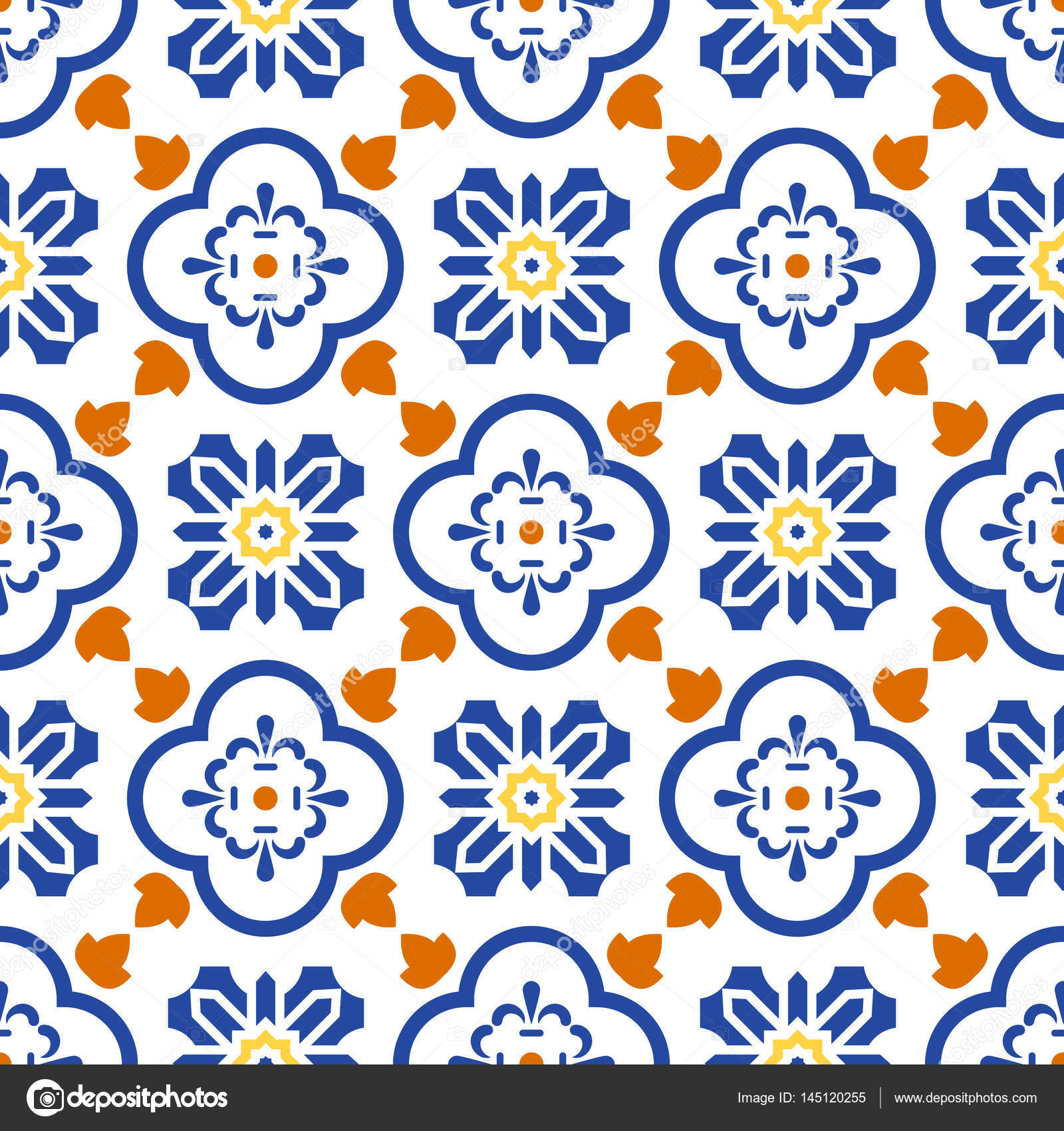 Ceramic blue and white mediterranean seamless tile pattern. — Stock ...