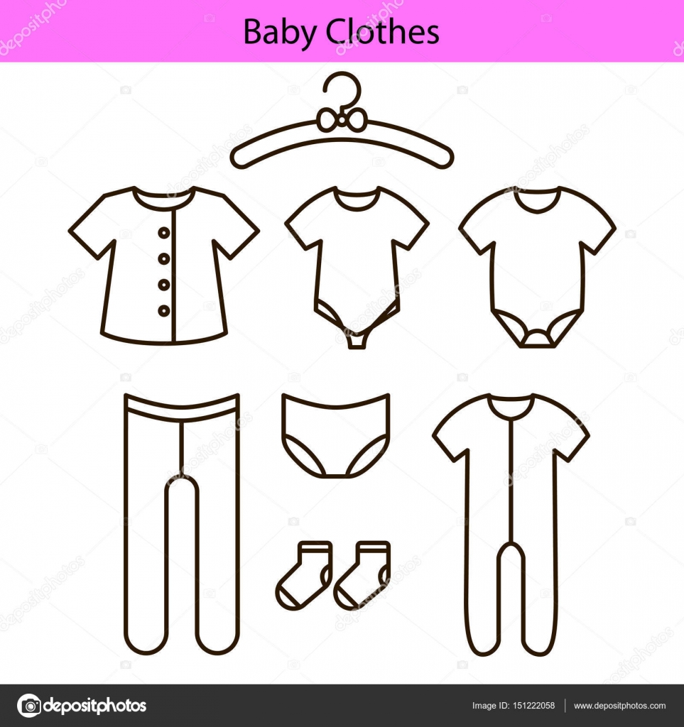 Baby clothes vector line icons — Stock Vector © inides