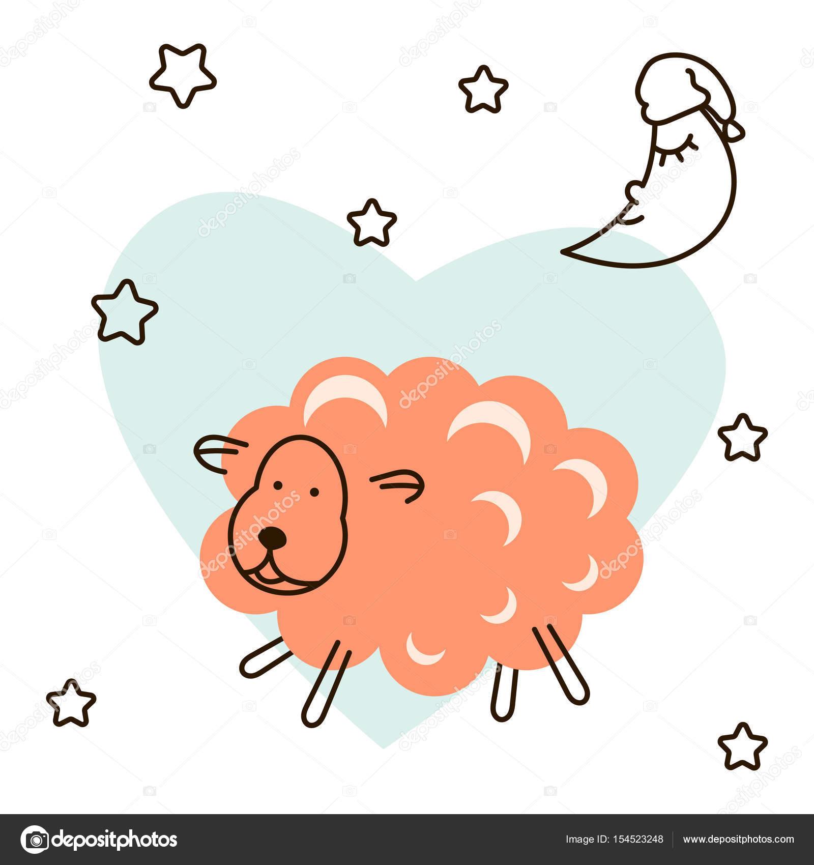 かわいい赤ちゃん羊漫画 T シャツ イラスト ストックベクター Inides