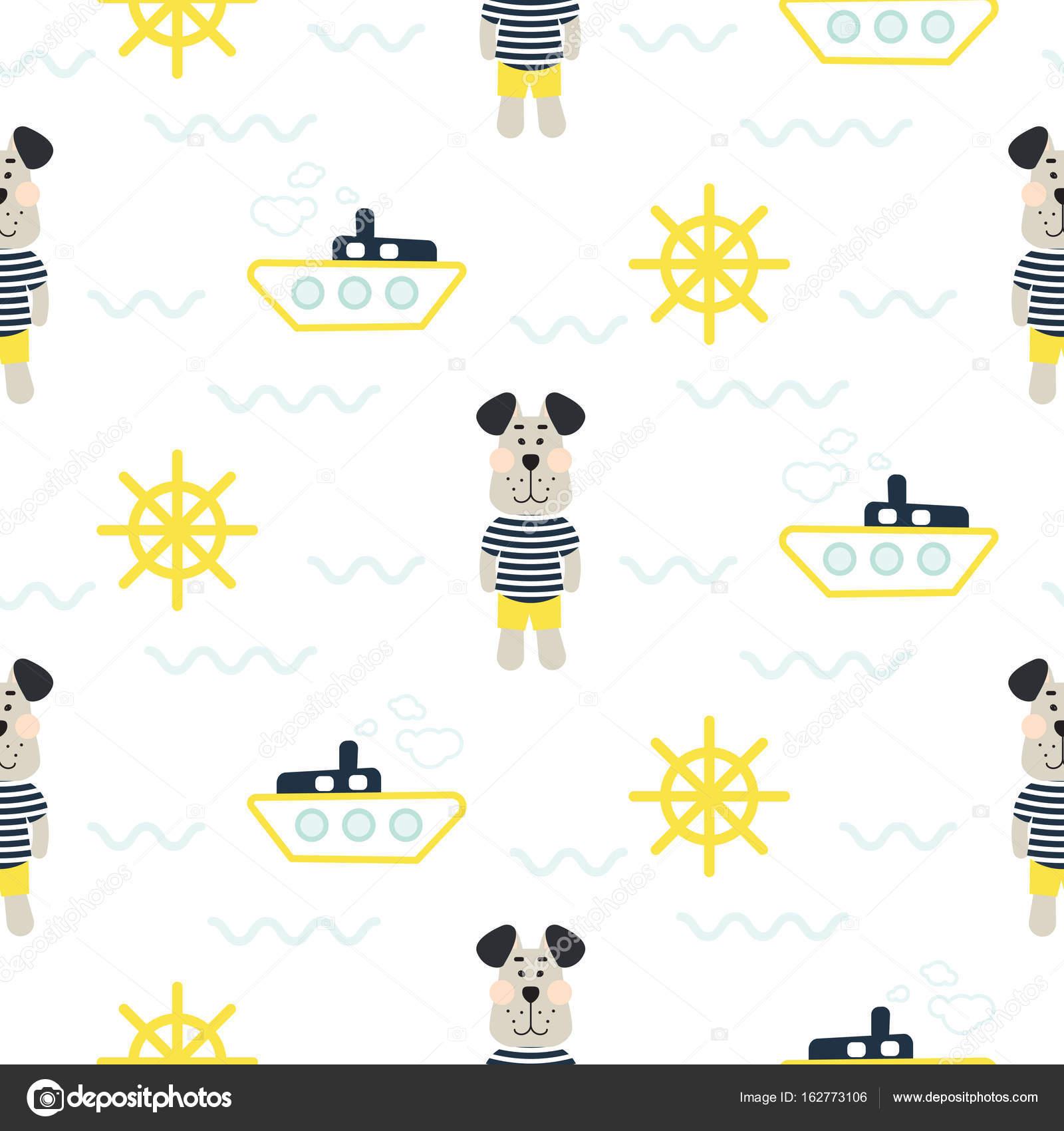 Patrón de niño pijamas con vector transparente de tilda marinero ...