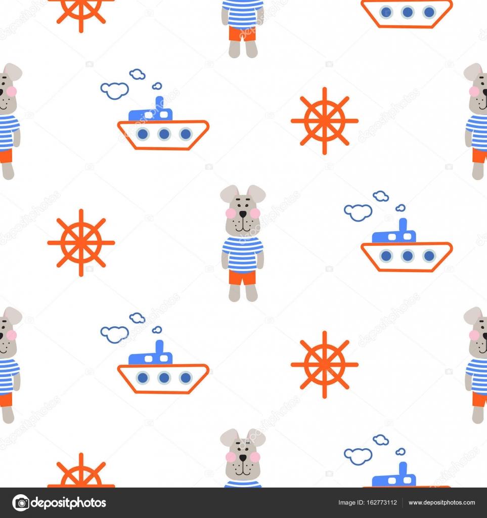 Dibujos: marineros infantiles   Patrón de niño marino con vector ...