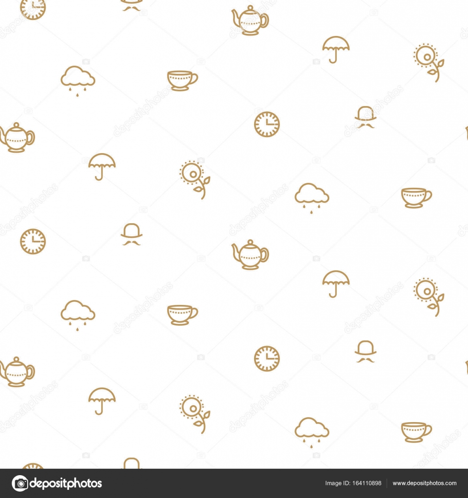 a9269fd87f45 Anglický čajový dýchánek jednoduché zlato na vzorek vektorové bílé čáry–  stock ilustrace