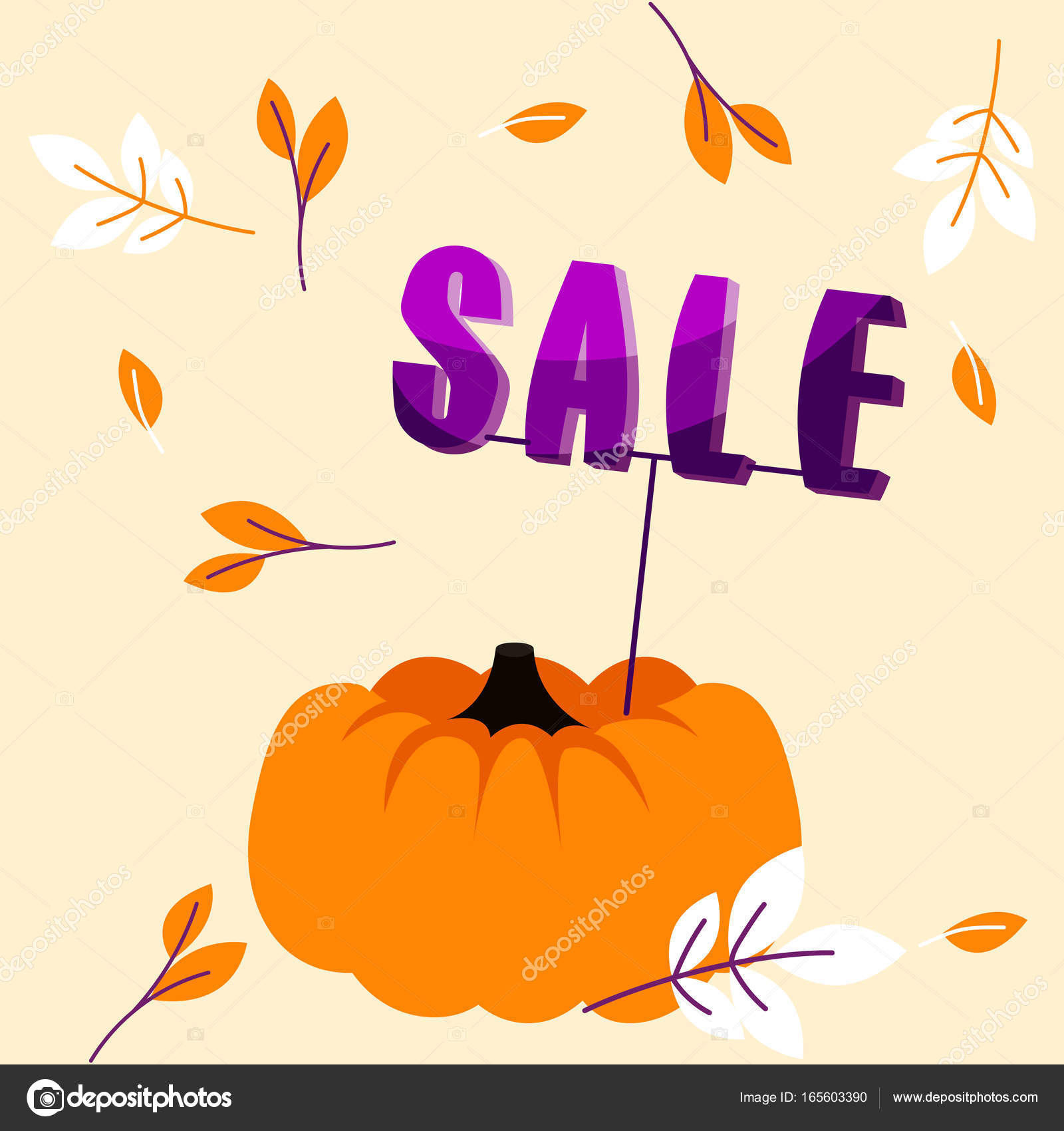 Autumn holiday sale banner with big pumpkin and fall leaves template ...
