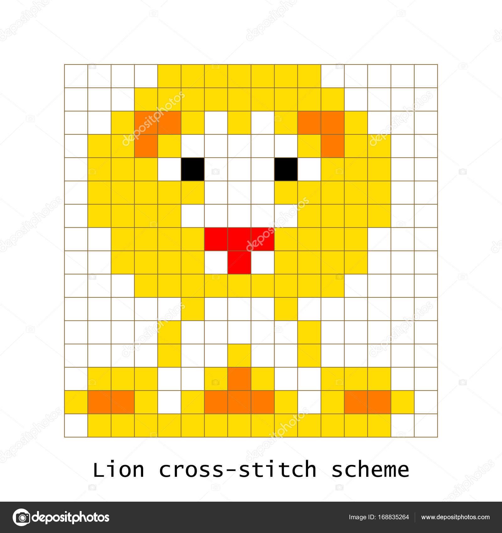 La Valeur De Point De Croix Pixel Art Lion Animal Vecteur