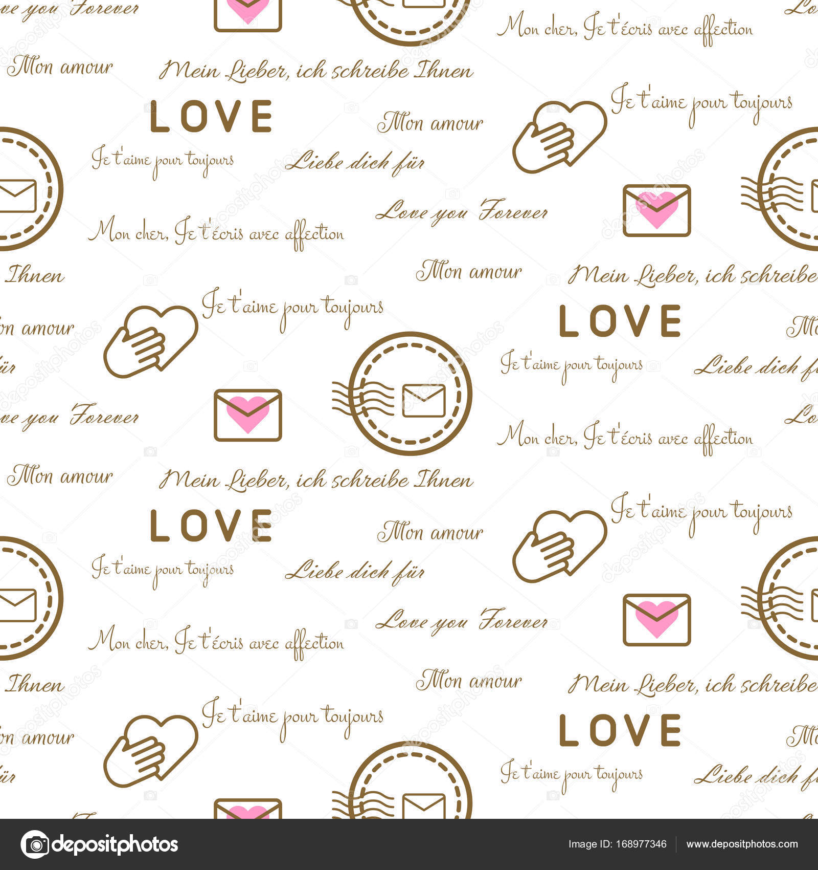 Love letters seamless vector pattern on white. Romantic valentine ...