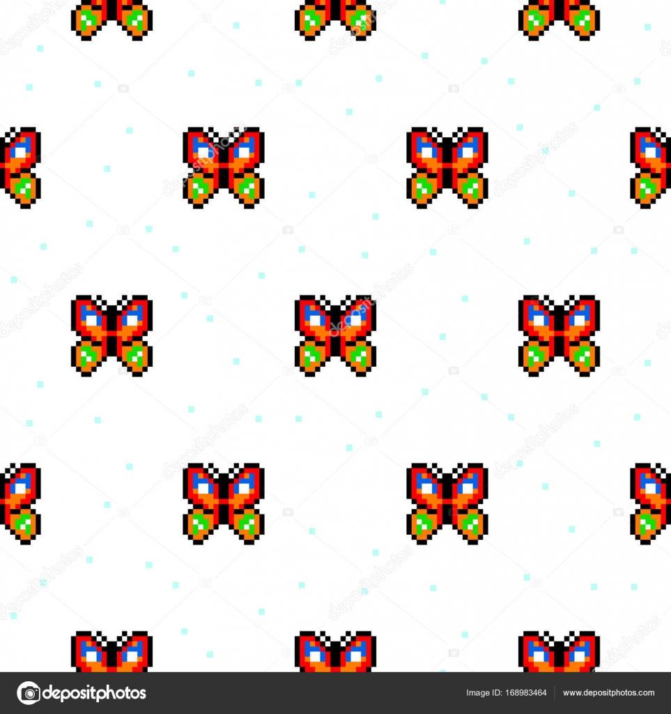Modèle Sans Couture De Papillon Lumineux Cartoon Pixel Art