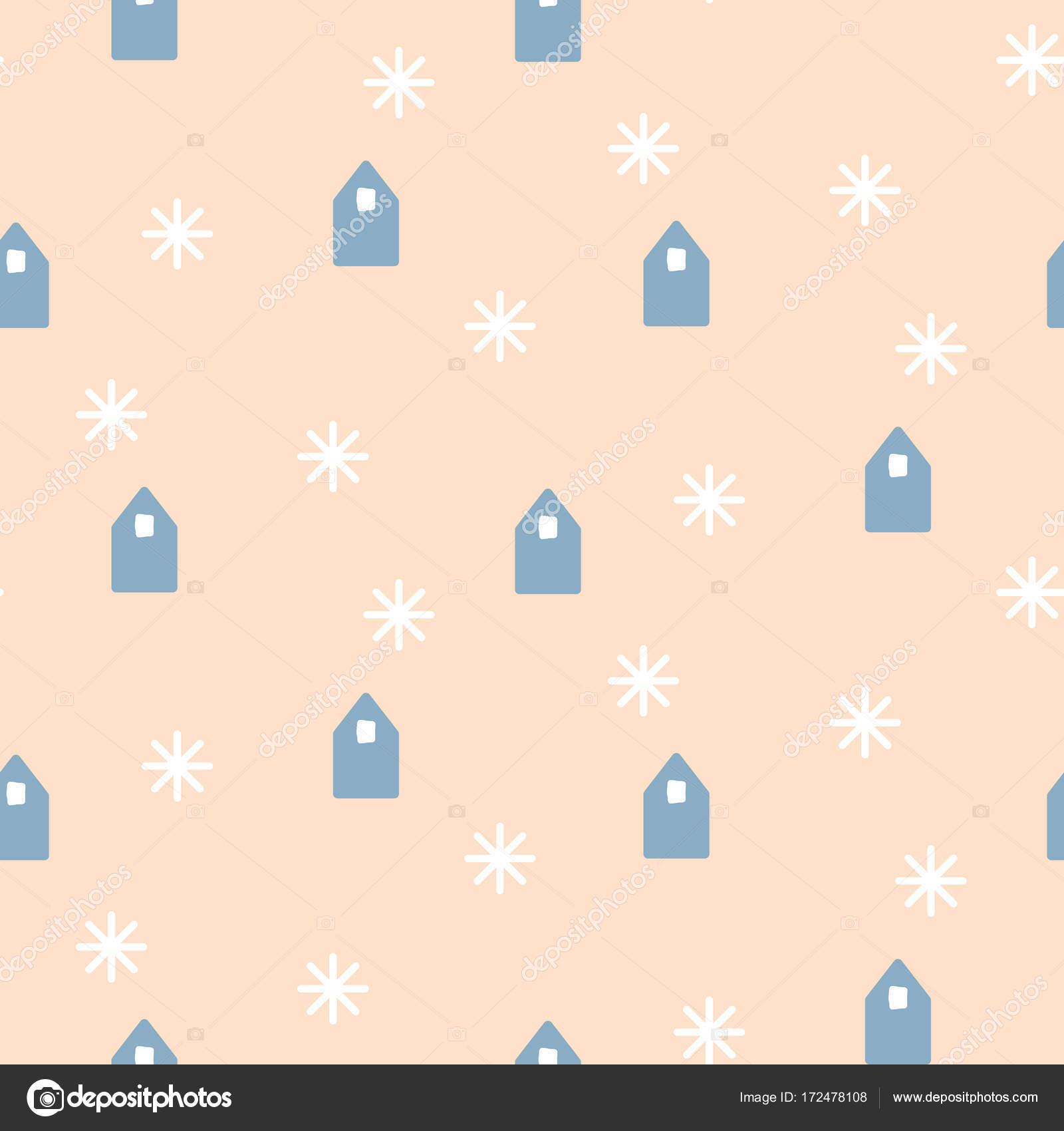 Einfache Häuser Formen Auf Blass Rosa Hintergrund. Nahtlose Vektormuster  Mit Skandinavischen Design U2014 Vektor Von Inides