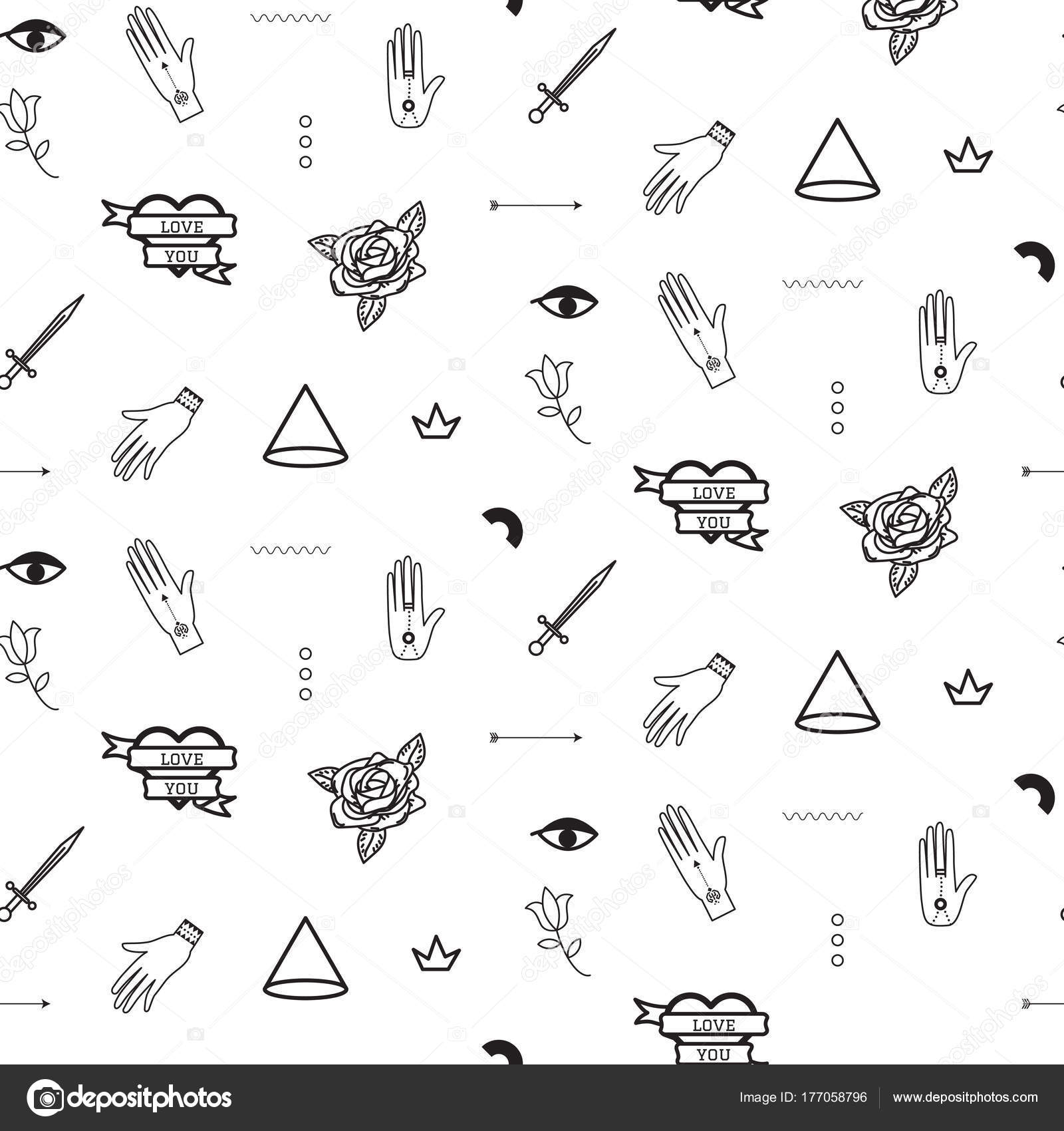 doodle hipster flash tattoo style seamless vector pattern stock