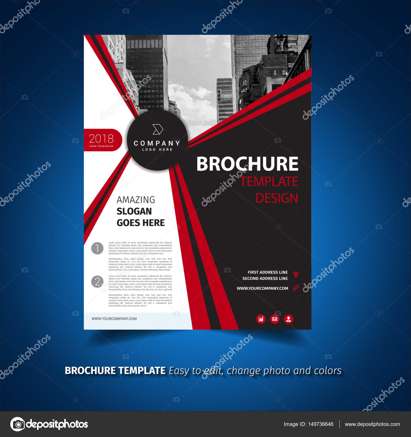 Red And Black Brochure Template Stock Vector Pixochris 149736646