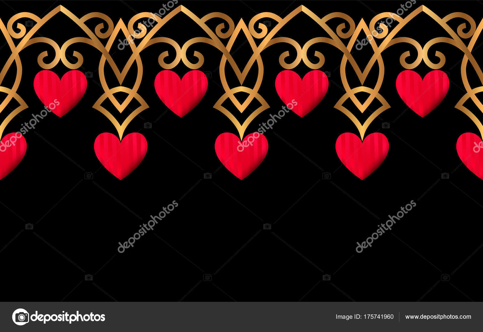 Hearts Gold Red Black
