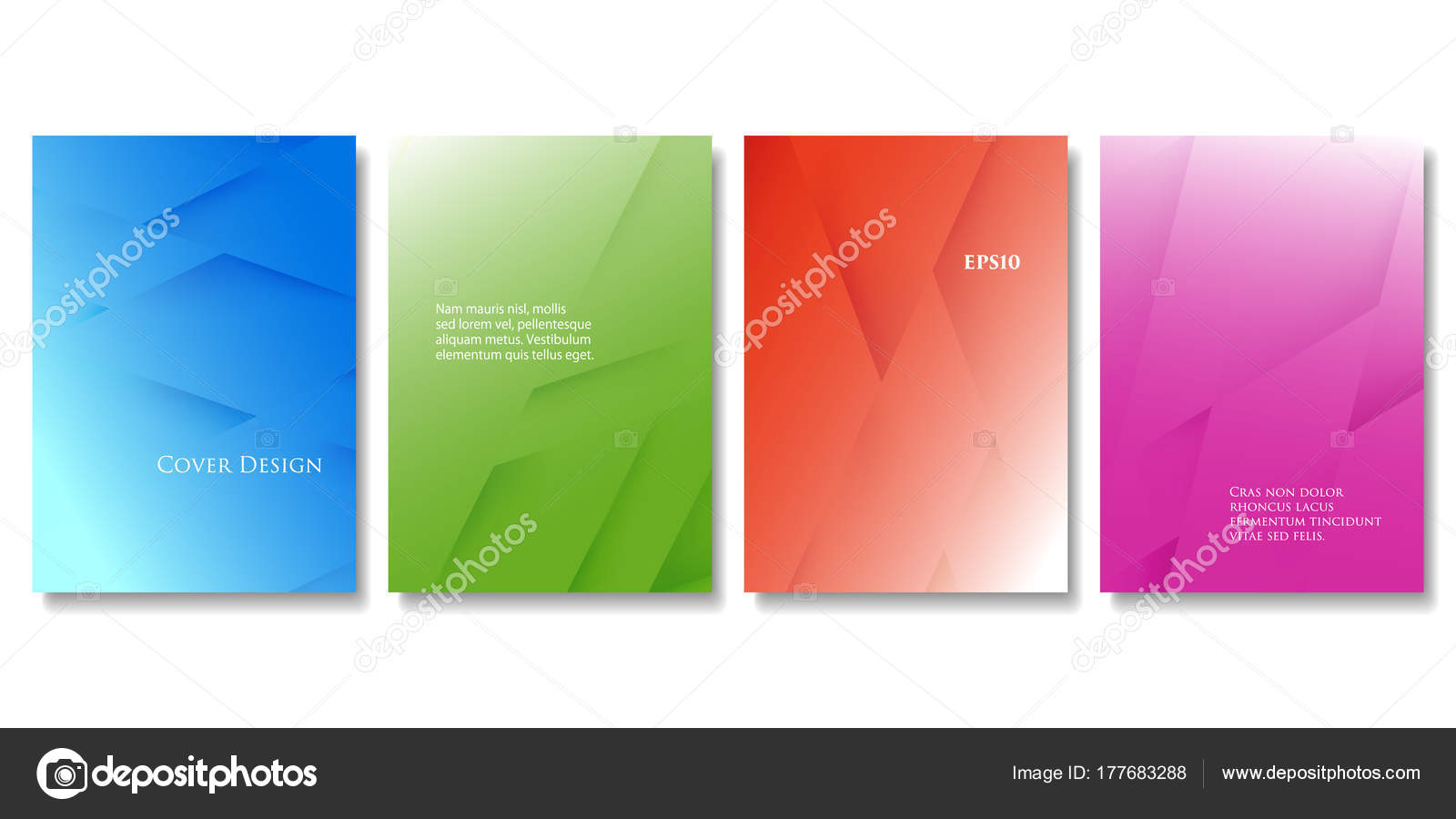 set vector colorful brochure templates abstract three dimensional texture gradient stock vector