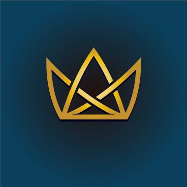 Golden crown linear logo. Simple style crown illustration.
