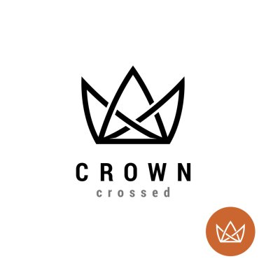 King crown linear logo. Silhouette of a crown