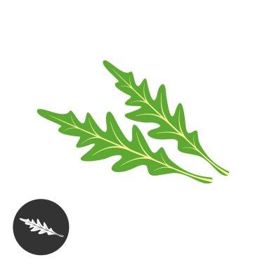 Arugula salad green leaves silhouette illustration.