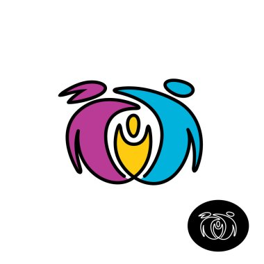 Happy family color logo. People together outline style