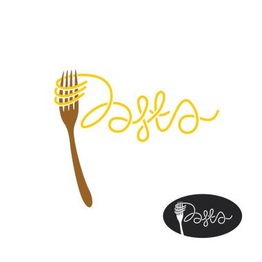 Vector illustration design of Pasta and fork logo isolated on white background stock vector