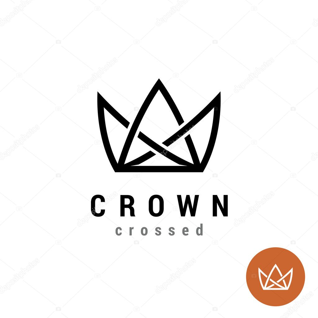King crown linear logo. Silhouette of a crown in a line style symbol.