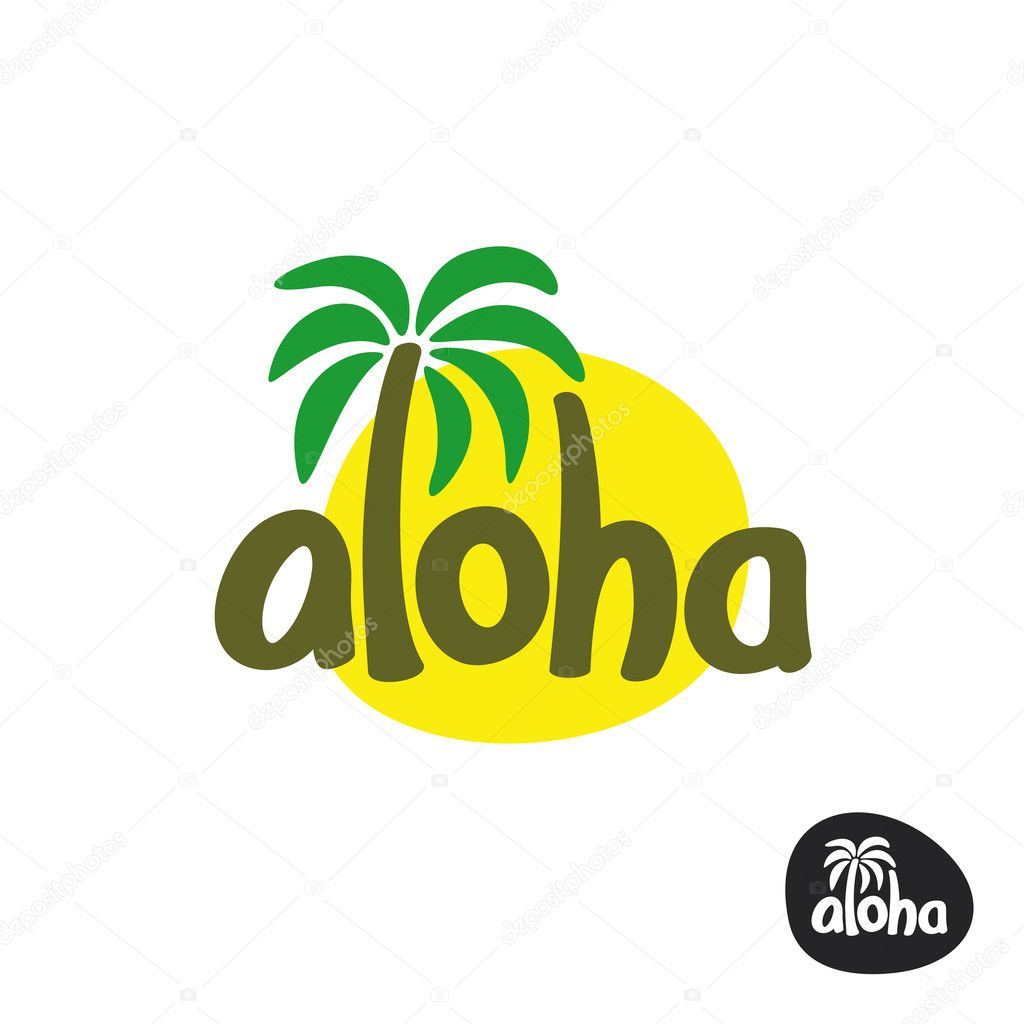 aloha lettering word logo with palm tree and sun silhouette behind vector by kilroy