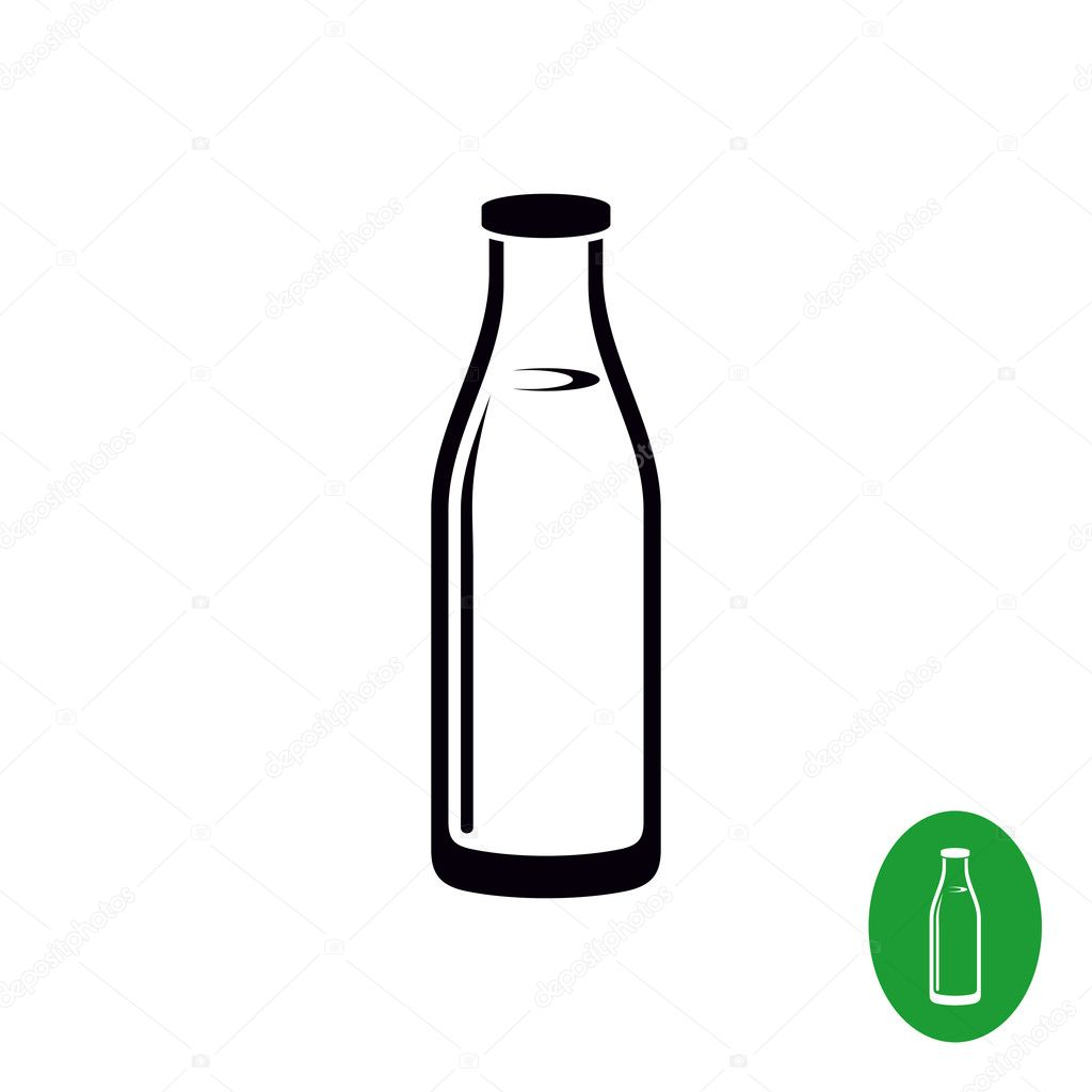 牛乳瓶のシンプルな黒イラスト ストックベクター Kilroy 125745706