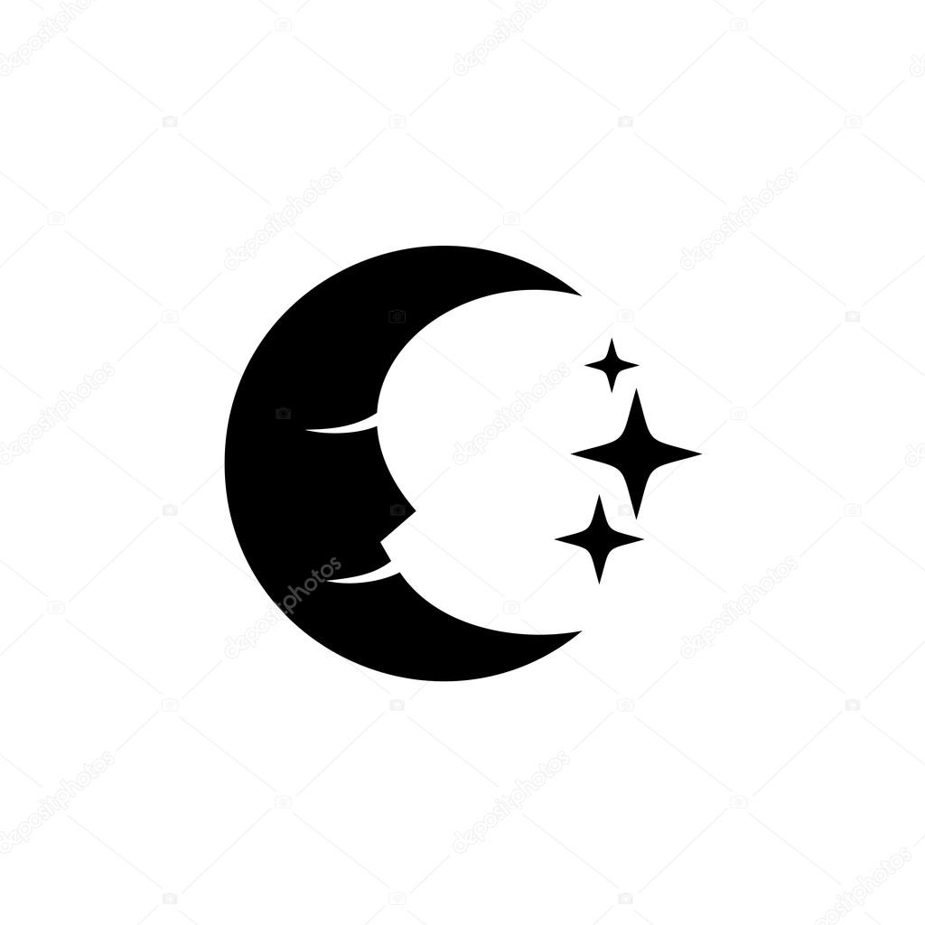 Stock Illustration Moon Face With Stars Black Silhouette Logo Vector
