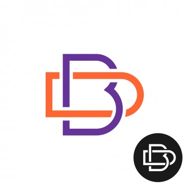 Letters B and D outline style weave ligature logo