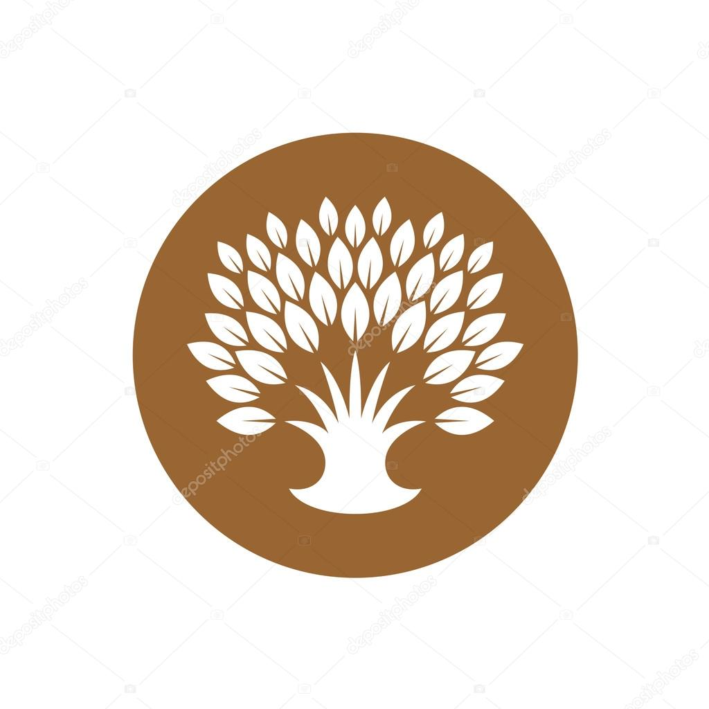 Stylized tree logo with rich crown of leaves.