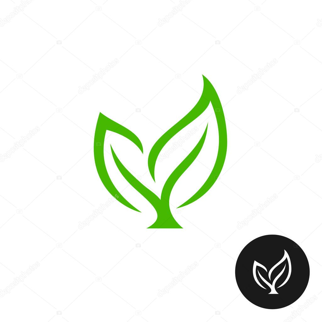 Two green leaves with a branch icon