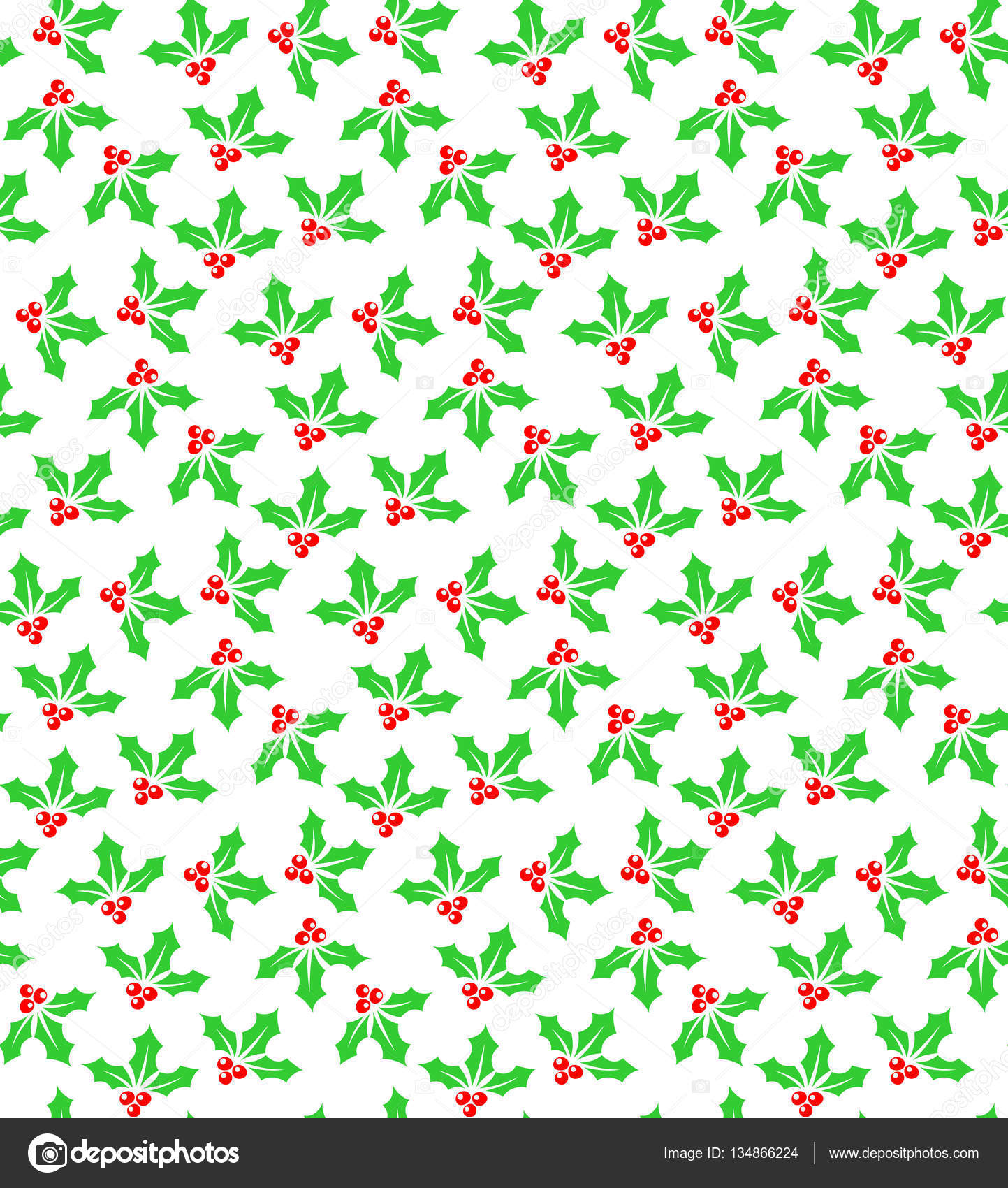 Holly berries seamless pattern color on white — Stock Vector ...