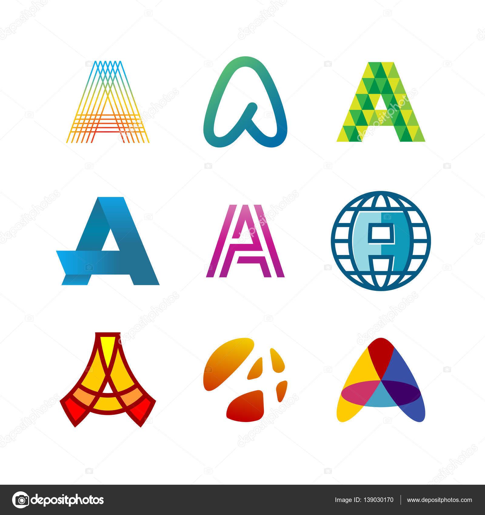 Buchstabe A Logo setzen. Farb-Symbol-Vorlagen-design — Stockvektor ...
