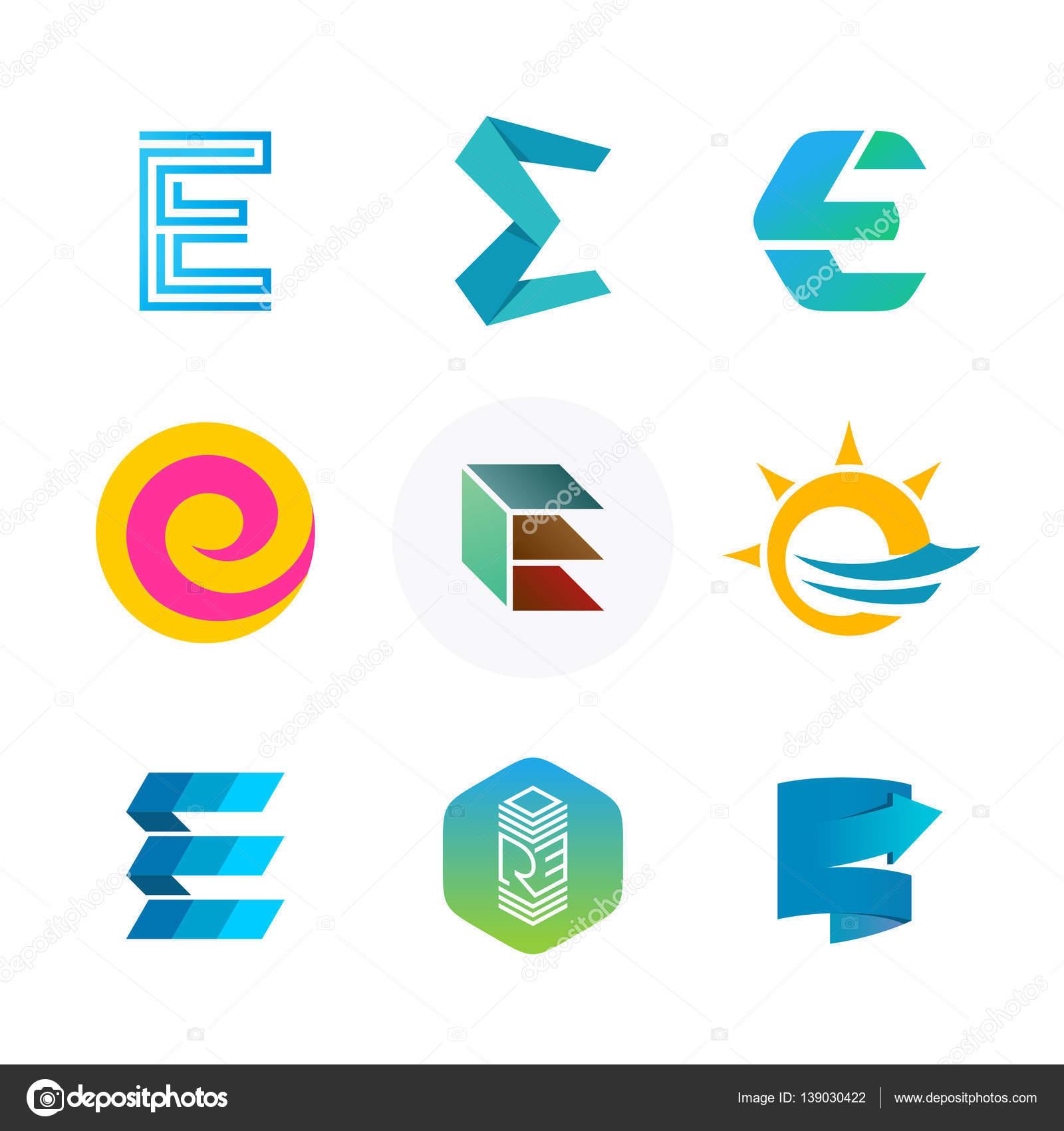 Letter E logo set. Color icon templates design. — Stock Vector ...