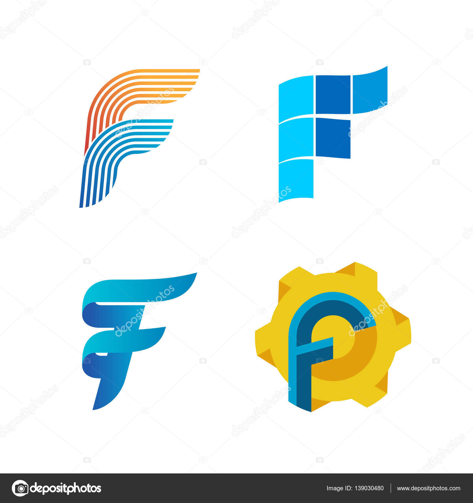 letter f logo set color icon templates design � stock