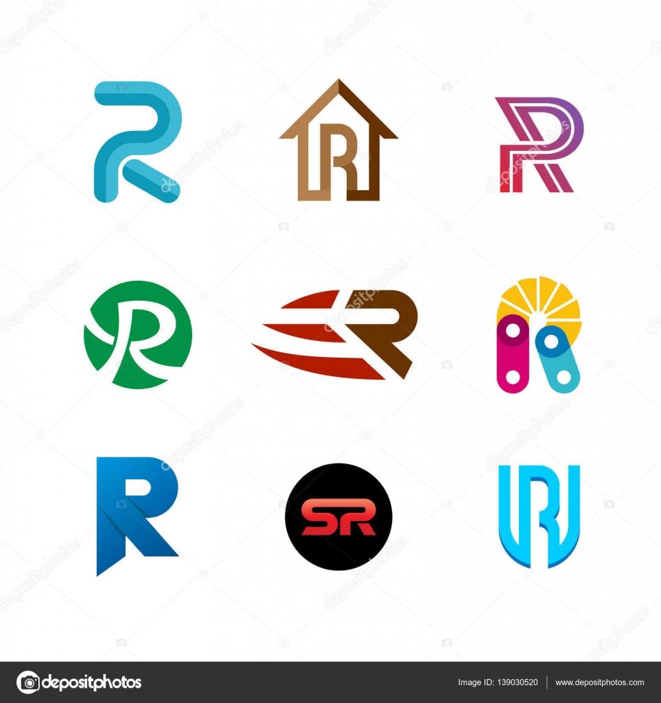 Letter R logo set  Color icon templates design  — Stock
