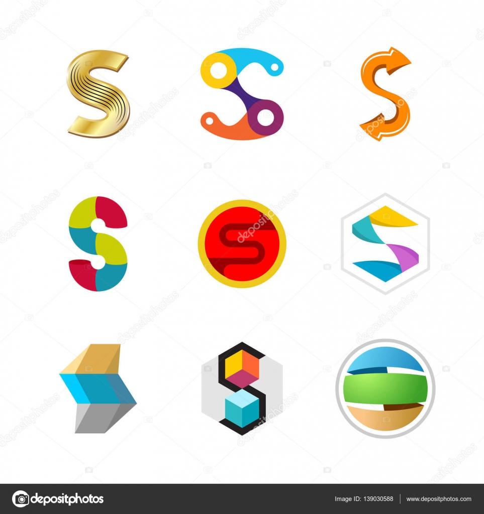 Letter S logo set. Color icon templates design. — Stock Vector ...