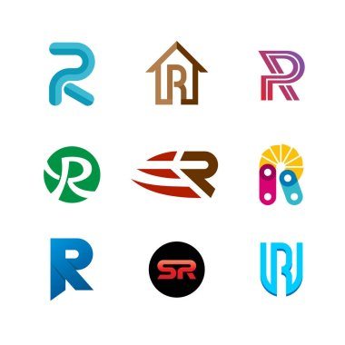 Letter R logo set. Color icon templates design.