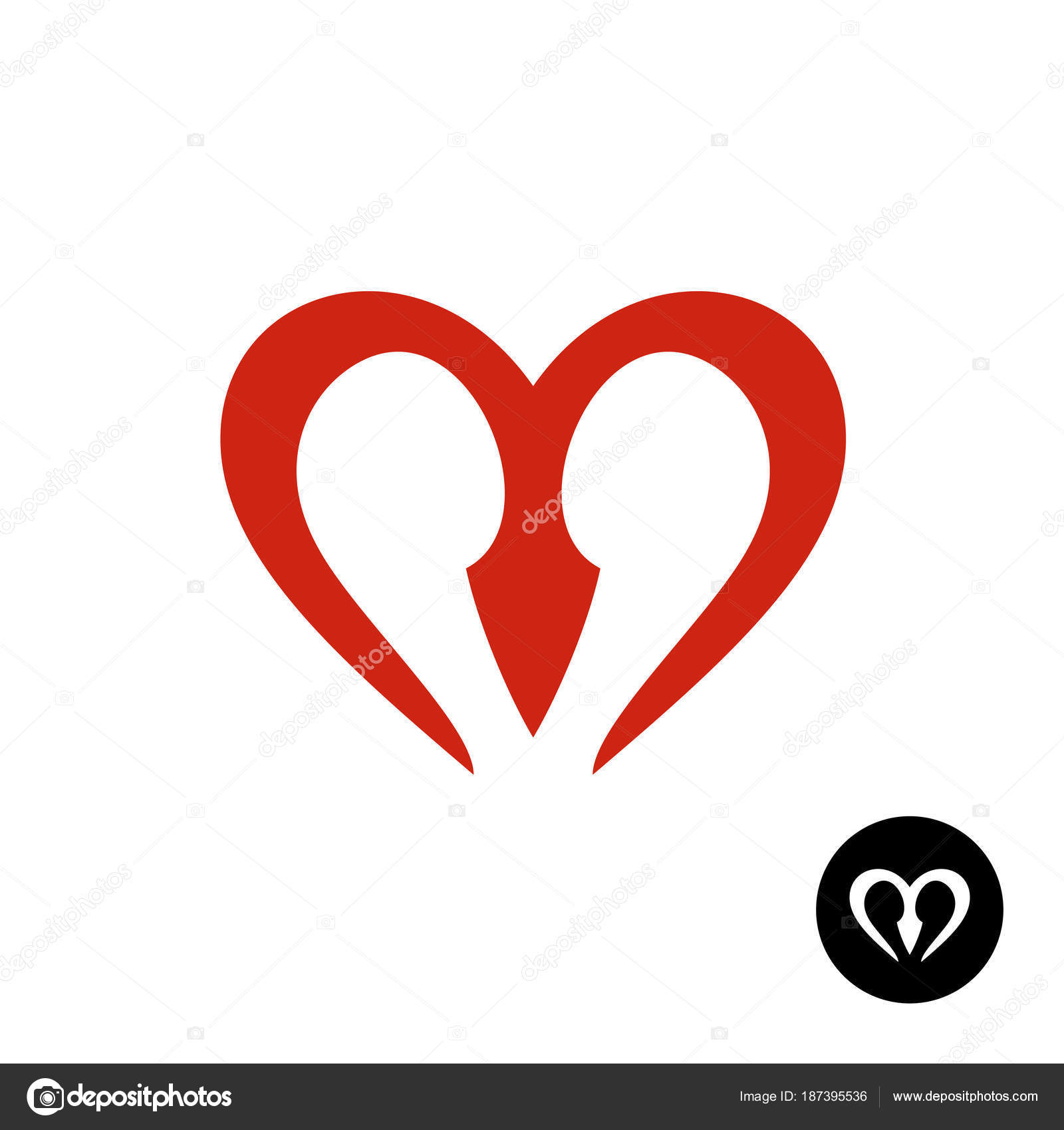 Letter M Heart Style Logo Smooth Rounded Lines Red Symbol In A Shape Of Sign Vector By Kilroy