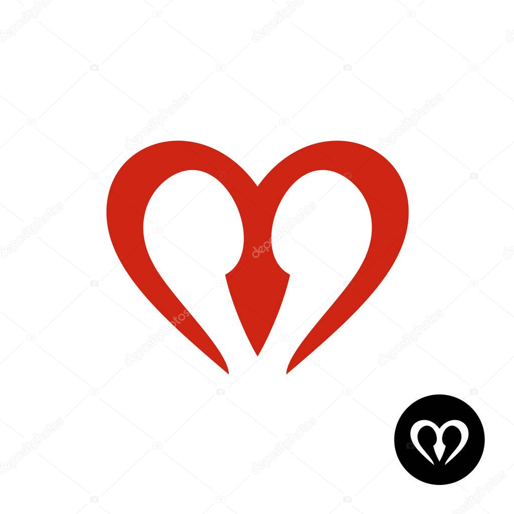 Red And Yellow Letter Logo:  Letter M Heart Style Logo . Stock Vector Kilroy #187395536