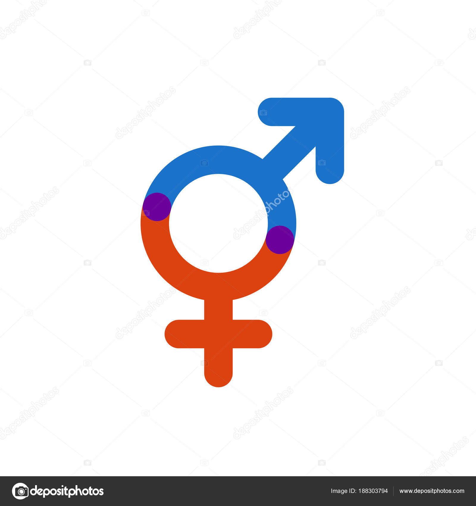 Male And Female Color Symbol Gender Intersection Stock Vector