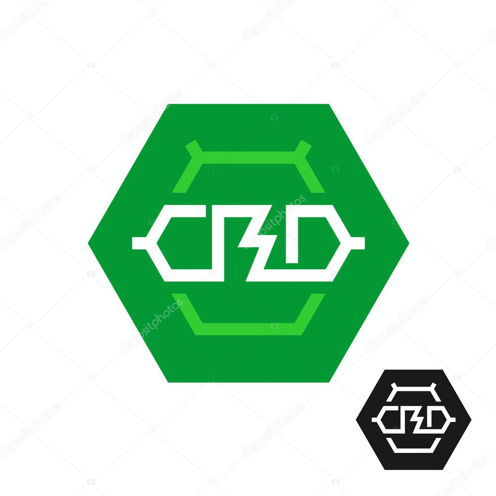 CBD molecule logo. Tech symbol of cannabidiol.