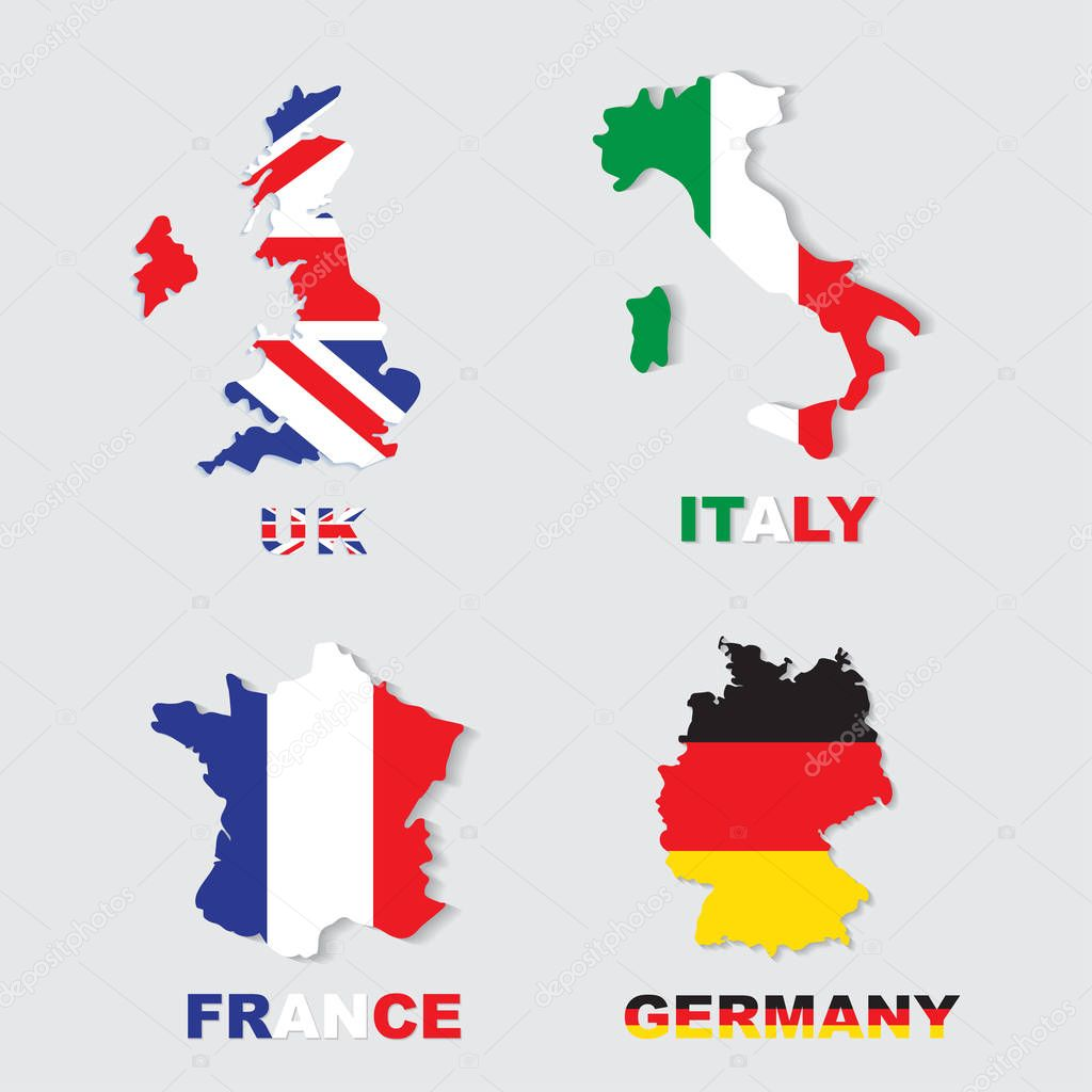 Germany, Italy, France, UK colorful maps and flags ...