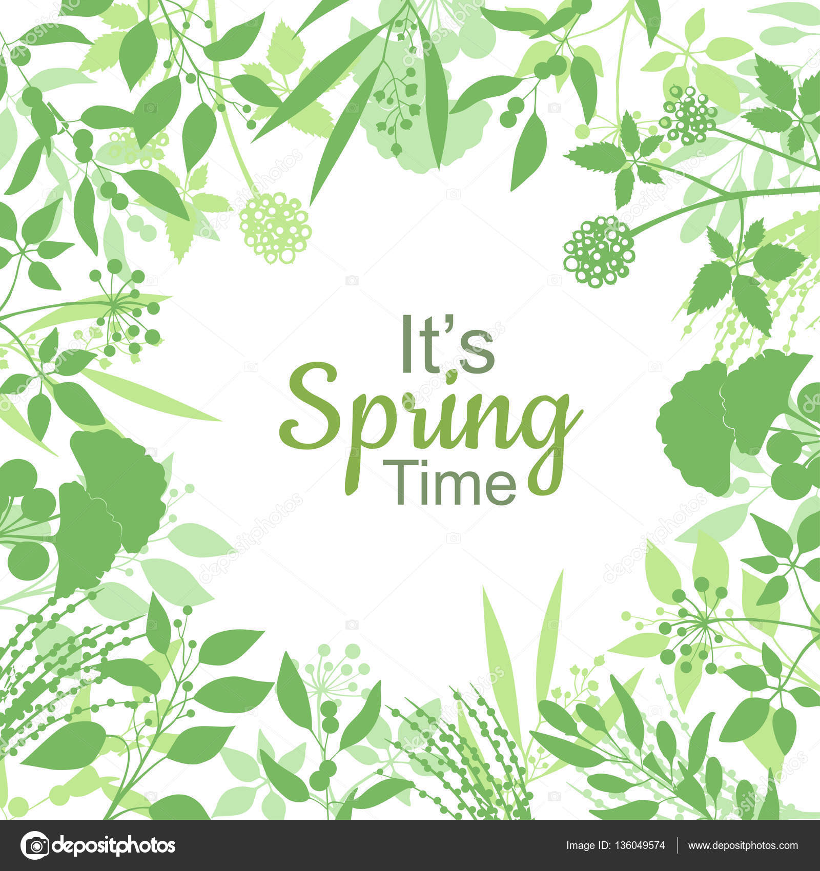 Su resorte tiempo tarjeta verde diseño texto en marco floral ...