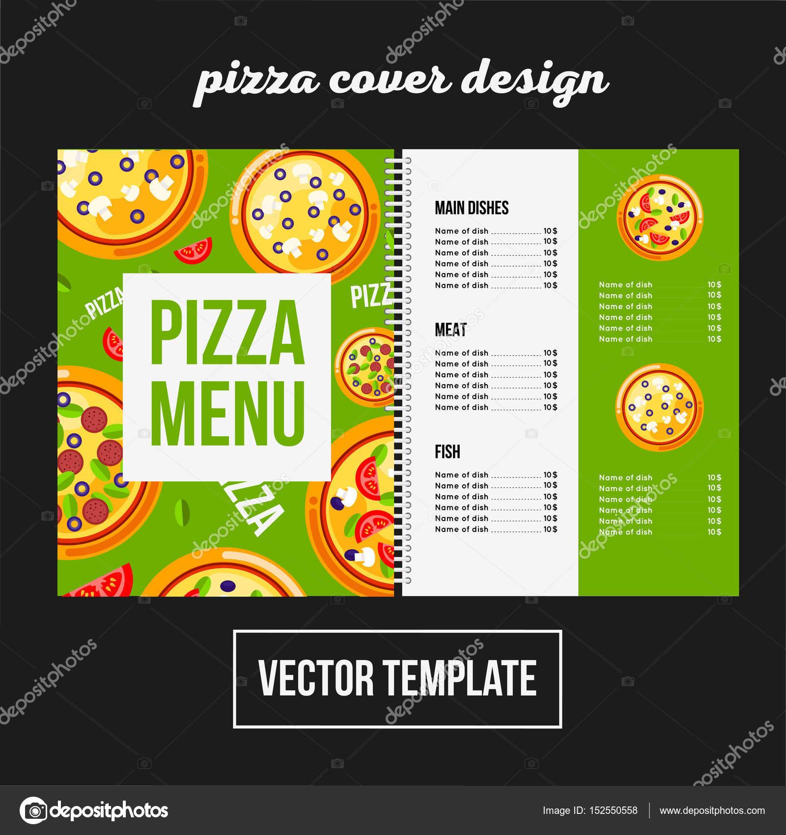 Diseño de portada para el menú de impresión pizza, plantilla de ...