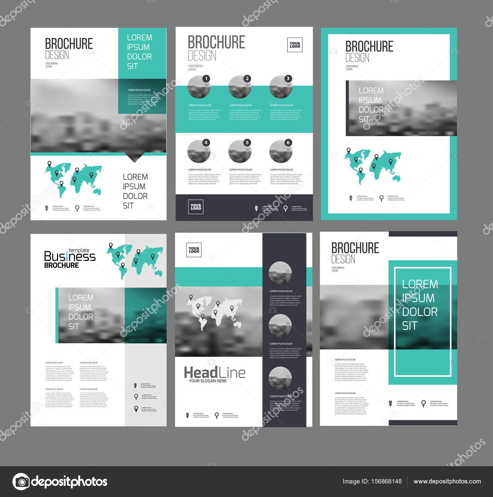 Six Flyer Marketing Templates With Photo Text And Map Stock - Marketing layout templates