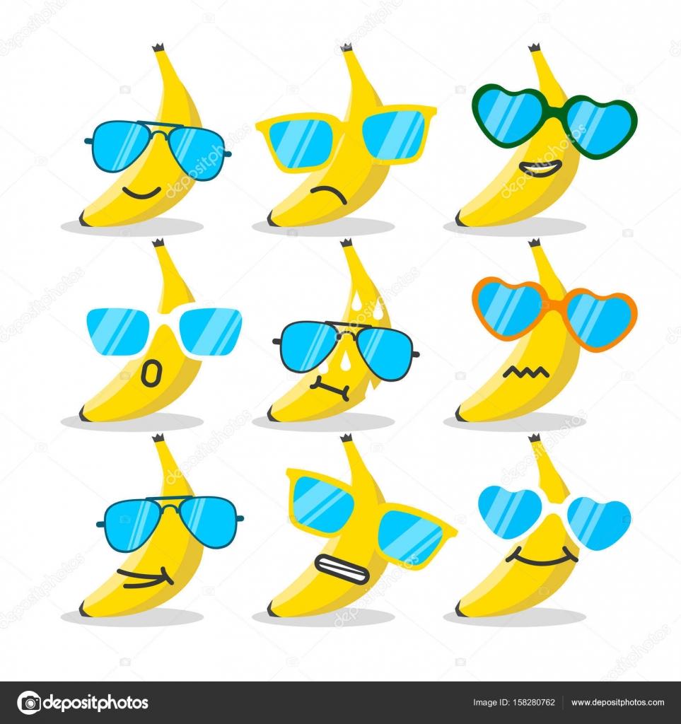 Emoji banana del fumetto con gli occhiali da sole